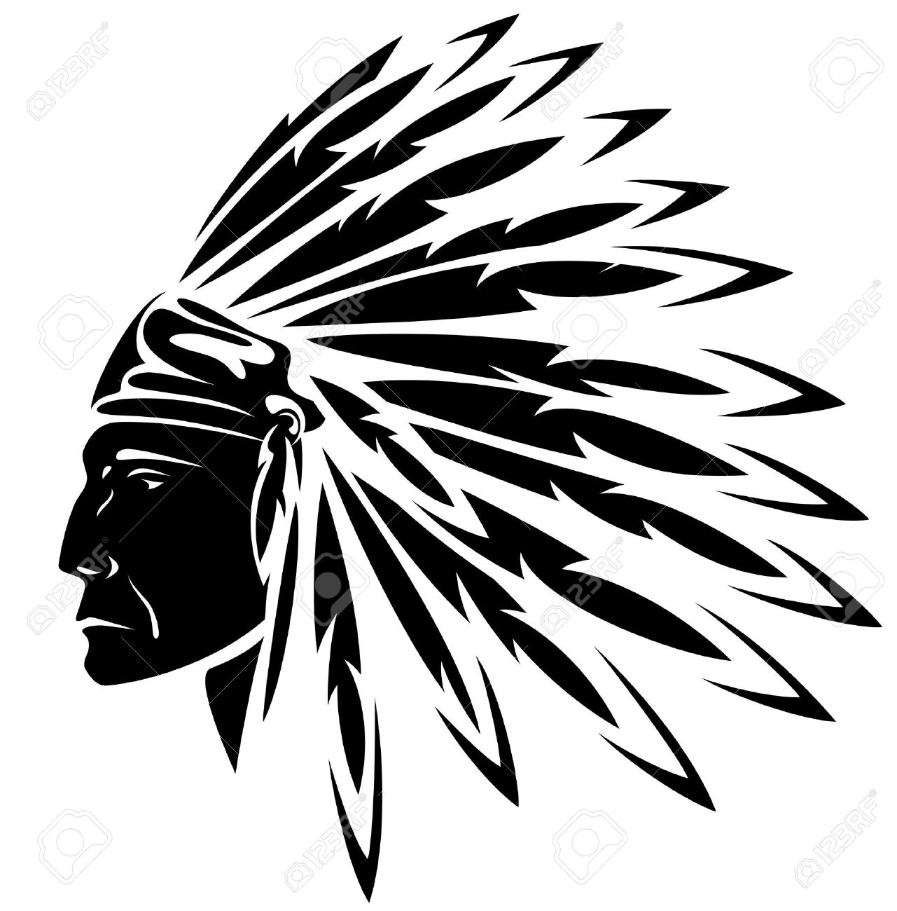 Indian Chief: Red Indian Chief Black And-indian chief: red indian chief black and white illustration-9