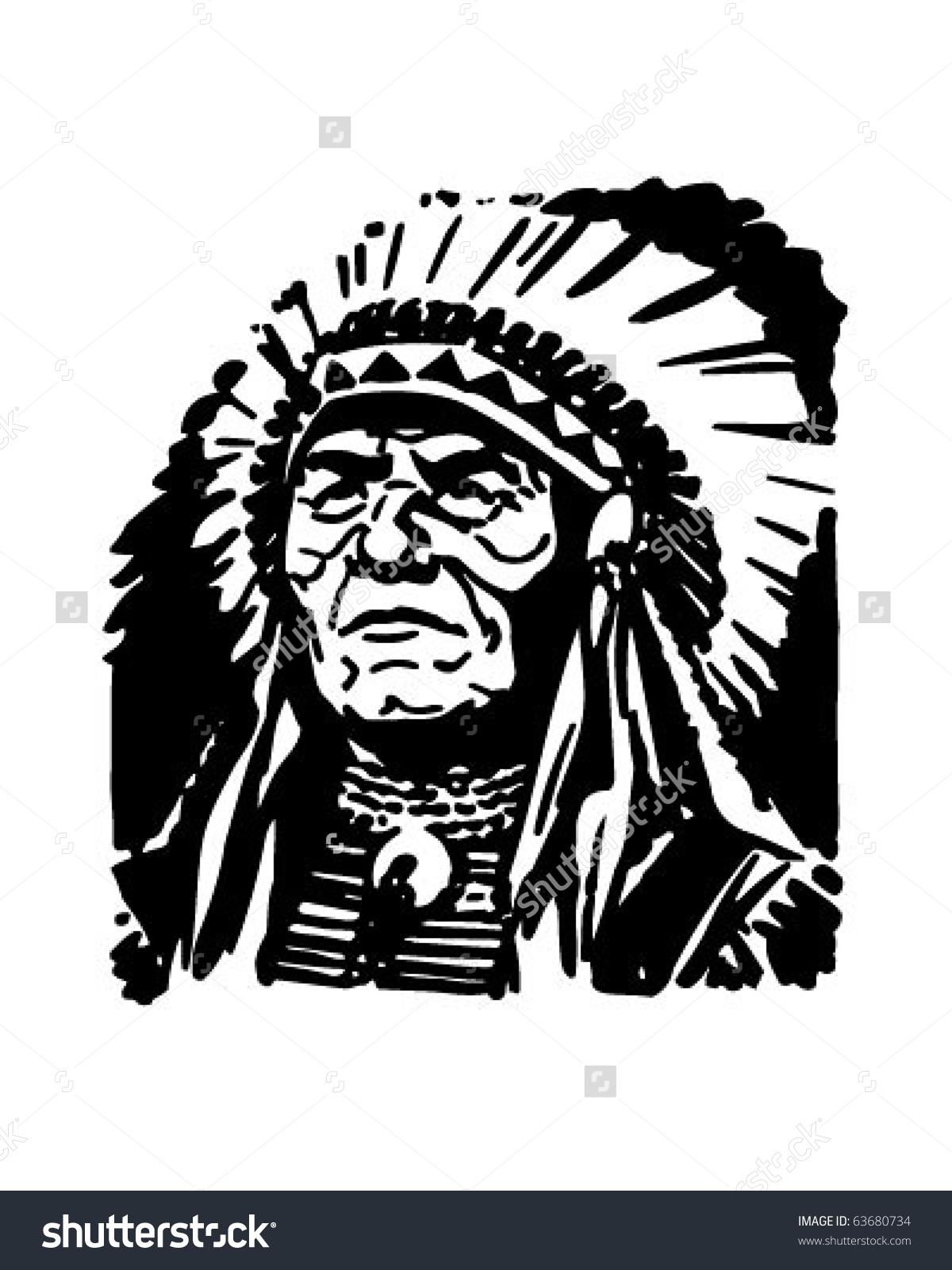 Indian Chief - Retro Clipart Illustratio-Indian Chief - Retro Clipart Illustration-12