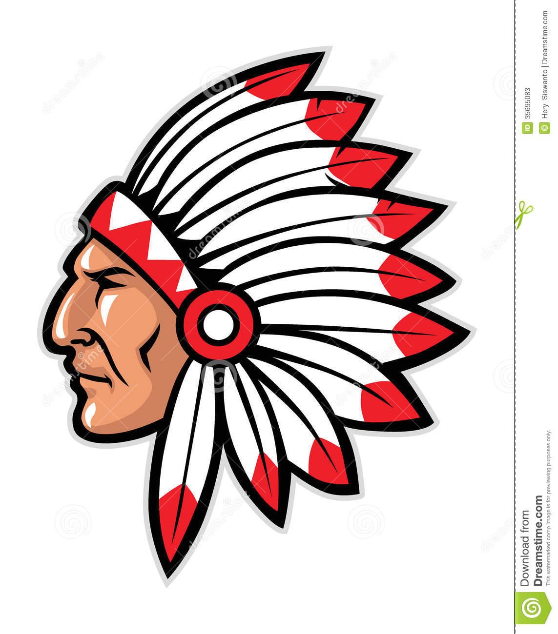 a0071a9dacb Indian Head Mascot - Indian Headdress Clipart