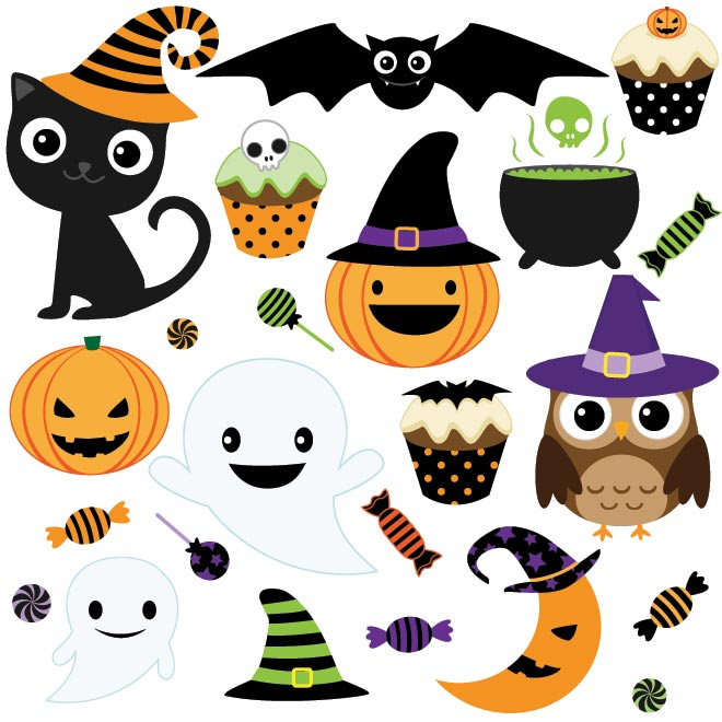 Indikau0026#39;s blog | Set of Happy Halloween Clip Art Free Download