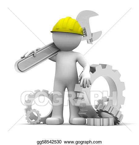3D Industrial worker with wrench an