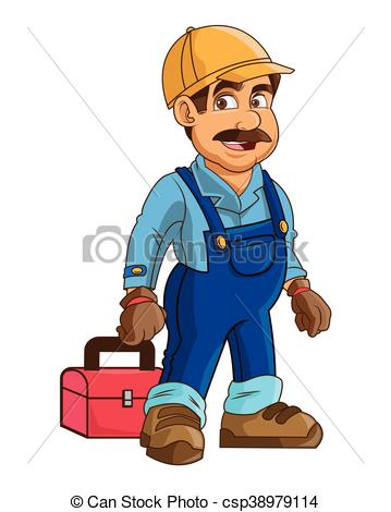 construction or industrial worker holding toolbox icon - csp38979114