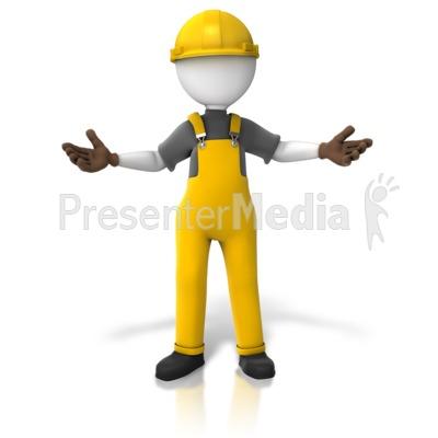 Construction Worker Presentin - Industrial Worker Clipart