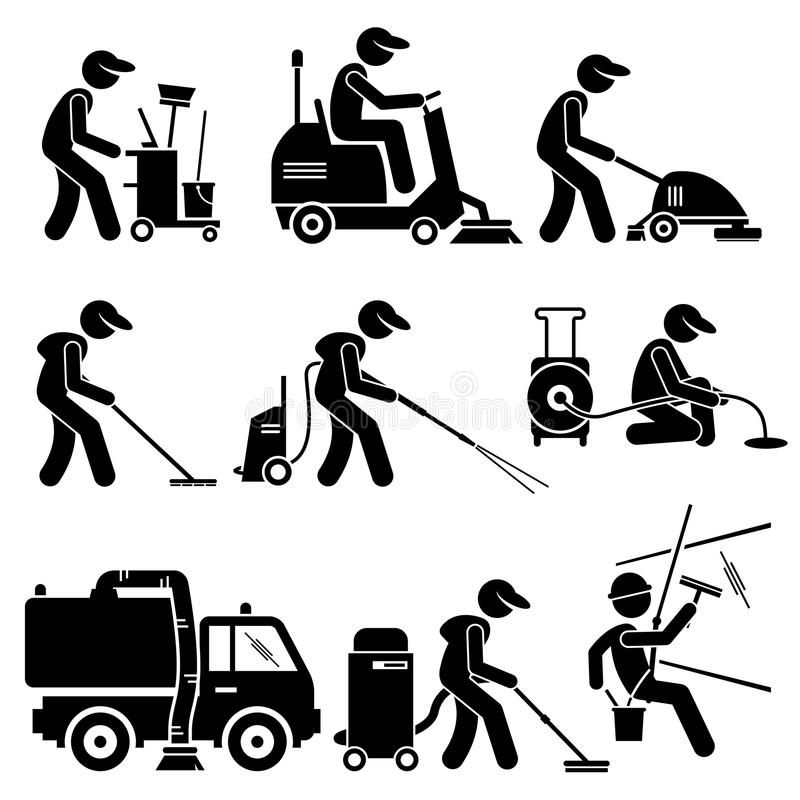 Download Industrial Cleaning Worker With Tools And Equipment Clipart Stock  Vector - Illustration of mopping,