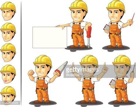 Endüstriyel inşaat işçisi maskot 3