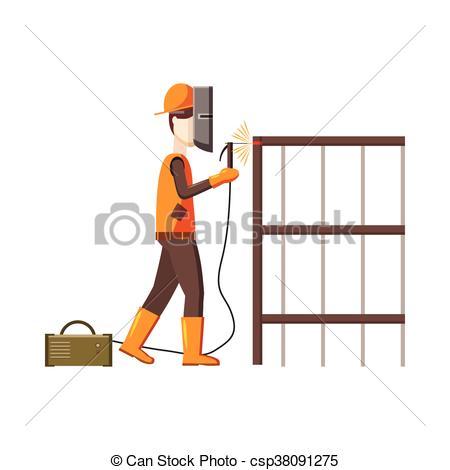 Industrial construction welder worker icon - csp38091275