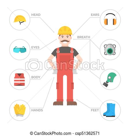 Safety Industrial Man Gear Tools Flat Vector Illustration Body Protection  Worker Equipment Factory