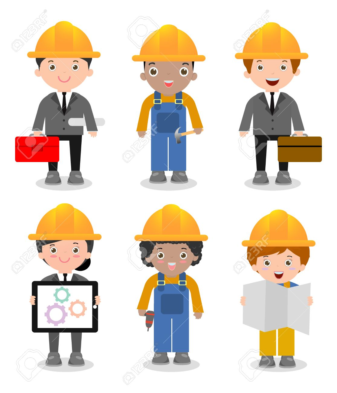 Set of cute construction Engineering Industrial Workers Project Manager  isolated on white background, Engineer man