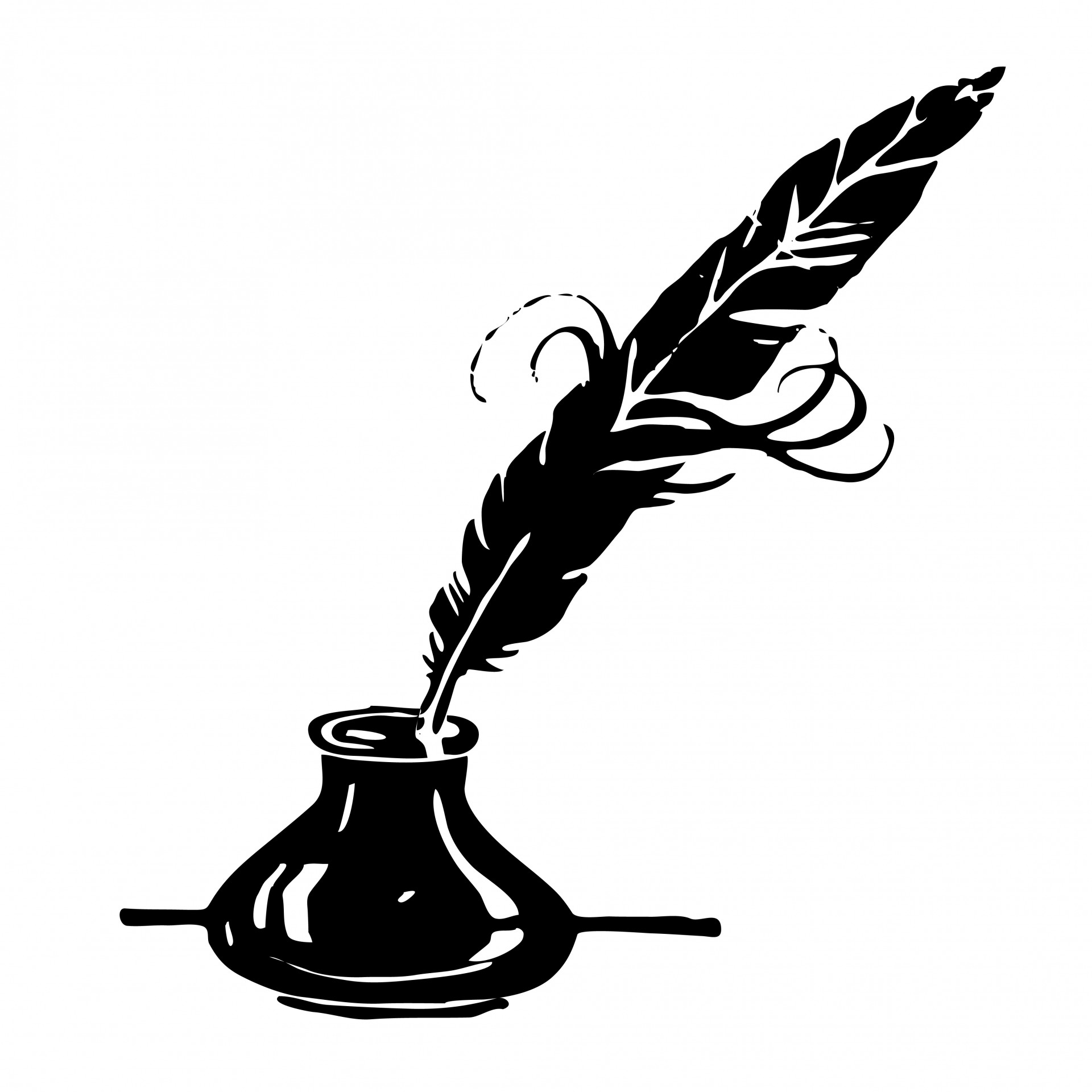 Ink u0026amp; Feather Quill Clipart