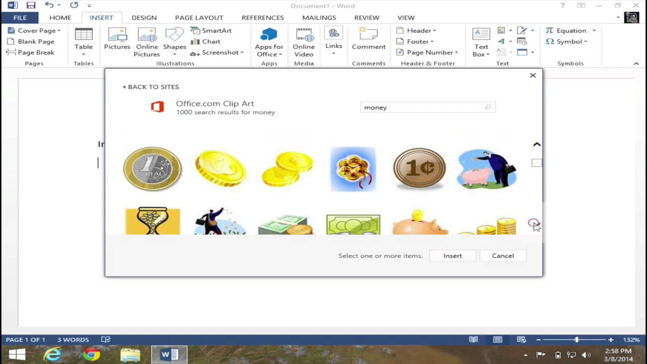 Insert Clip Art in Microsoft Word 2013