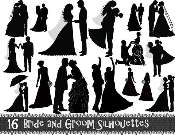 Instant Download 16 Digital Bride and Gr-Instant Download 16 Digital Bride and Groom Silhouette Clip Art Wedding ClipArt Wedding Invitation Scrapbook Digital-18