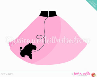 Instant Download Cute Pink Poodle Skirt Digital Clipart, Poodle Skirt Clip art, Retro Skirt, Pink Poodle Skirt Illustration, #1425