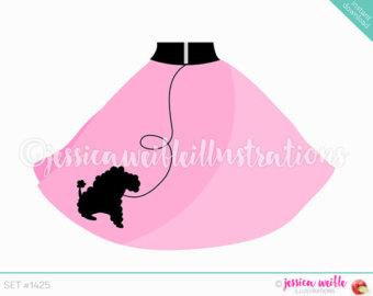 Instant Download Cute Pink Poodle Skirt Digital Clipart, Poodle Skirt Clip art, Retro Skirt, Pink Poodle Skirt Illustration, #1425