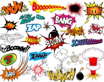 Instant Download Superhero Clip Art Digi-Instant Download Superhero Clip Art Digital Comic Book Clip Art Super Heros Text and Bubbles Clipart - Bang Boom Zap Sound Sayings 0320-13