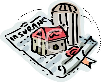 Home Our House Sitting atop a Homeowners Insurance Policy - Royalty Free  Clipart Picture