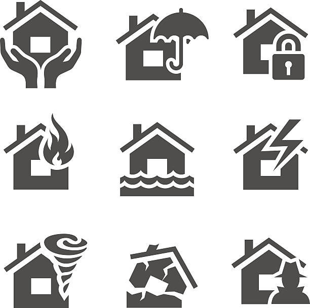 Property insurance icons vector art illustration