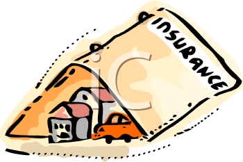 Symbol of Insurance Covering a Familyu0027s Home and Auto - Royalty Free Clip  Art Picture