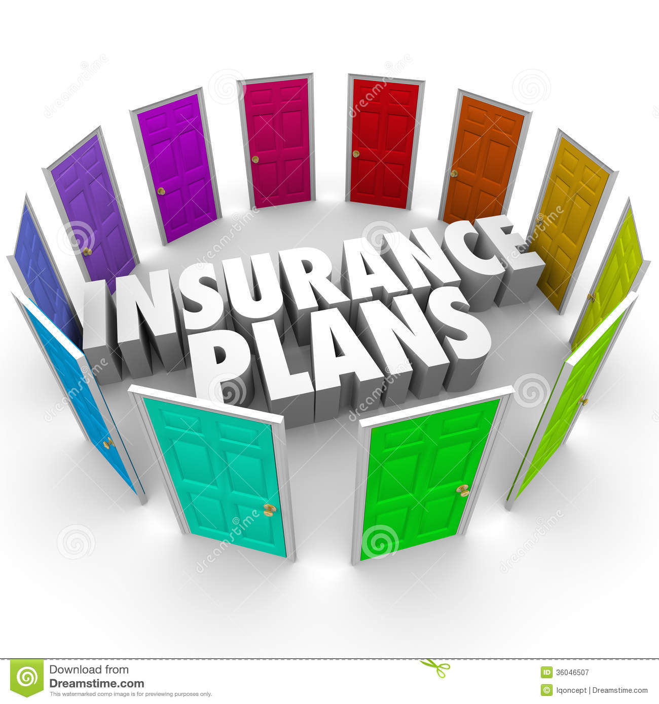 Insurance Plans Many Options Health Care Choices Doors Royalty Free