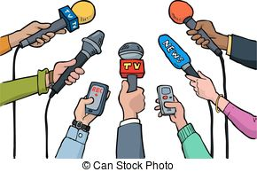 Cartoon Media Interview On A White Backg-Cartoon media interview on a white background vector.-0
