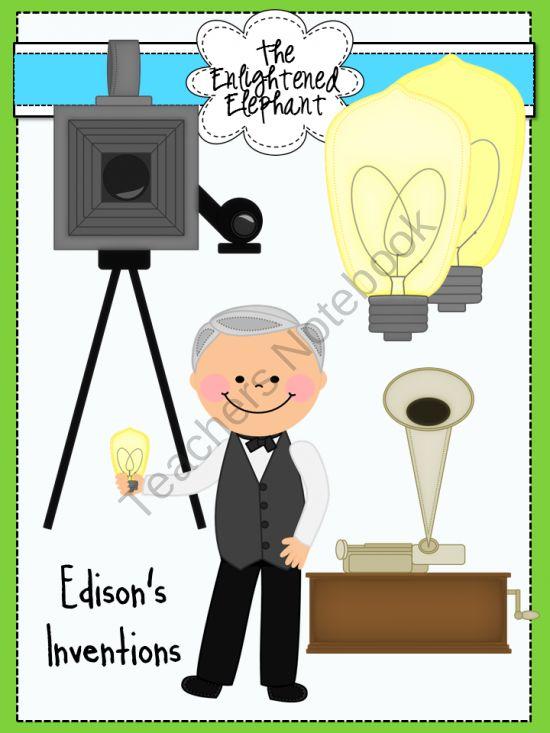 Inventions Of Thomas Edison Clip Art Pro-Inventions of Thomas Edison Clip Art product from The-Enlightened-Elephant on TeachersNotebook.-4