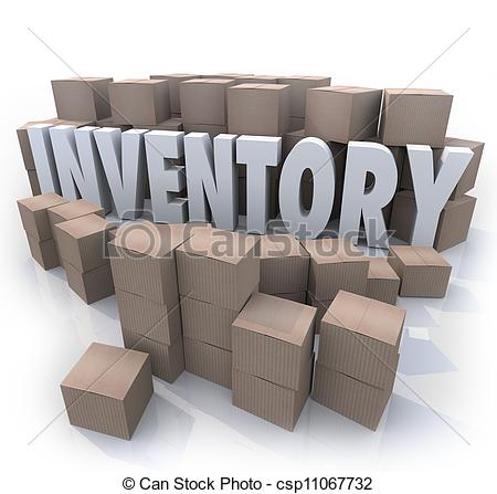 Inventory Word Stockpile Cardboard Boxes Oversupply Surplus.