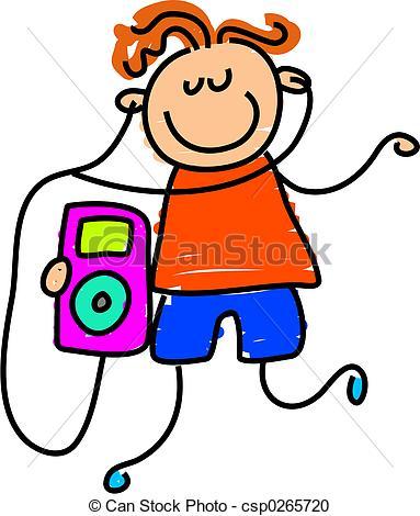 ... ipod kid - little boy listening to h-... ipod kid - little boy listening to his ipod - toddler art... ...-7