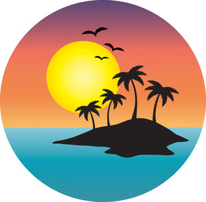Island Clipart Image: clip art image of a tropical island with the sun  setting