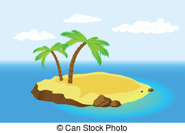 palm island - Island with a palm tree in the sea. Vector