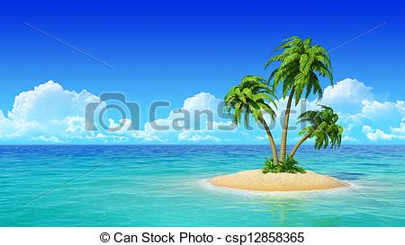 Tropical island with palms. - csp12858365
