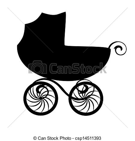 ... Isolated baby carriage silhouette - Isolated black baby.