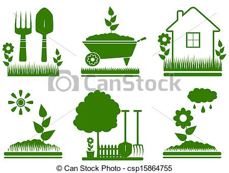 ... isolated garden landscaping symbols - set green isolated... ...