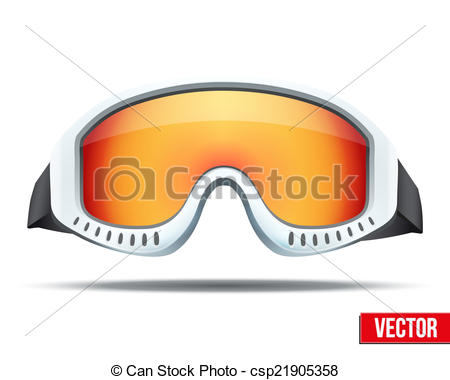Isolated on white Clipartby Batareykin3/-Isolated on white Clipartby Batareykin3/213; Classic snowboard ski goggles with colorful glass. Vector.-15