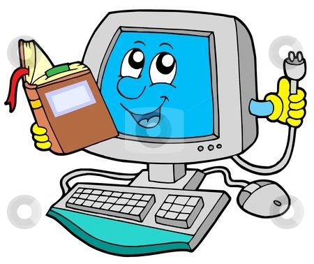 It Computer With Book Stock Vector Clipart It Computer With Book