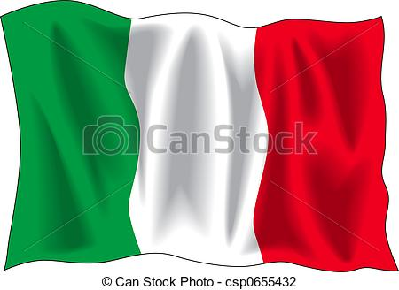 ... Italian flag - Waving flag of Italian isolated on white