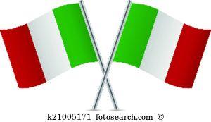 Italian flags. Vector illustration.