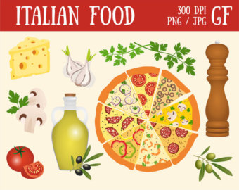 Italian Food Pizza Vegetables Olive Italy digital food clipart