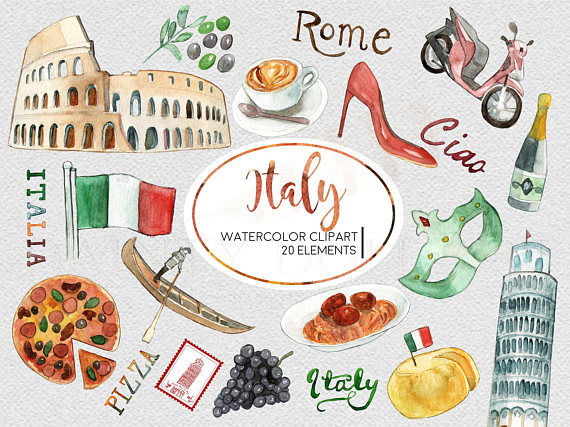 Italy Clipart Watercolor Digital Download Travel Europe Italian Flag Pizza  Pasta Rome Colosseum Invite Paint Original