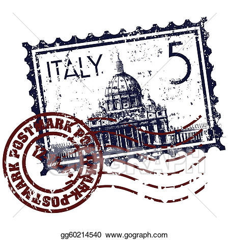 Italy icons; Vector illustration of single isolated Italy stamp icon