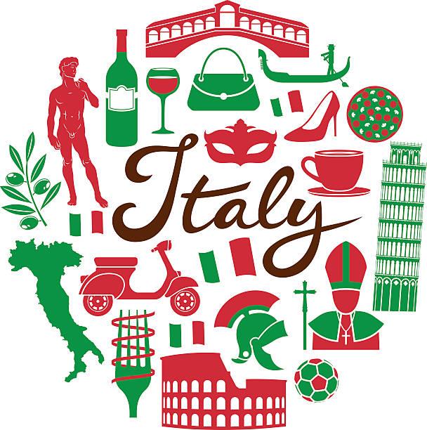 Italy travel icons landmarks fashion art food vector art illustration