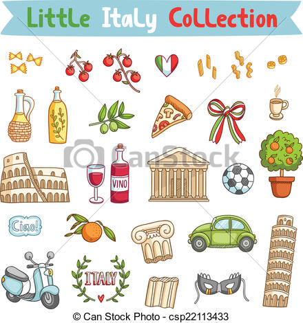 Little Italy collection of italian things - csp22113433