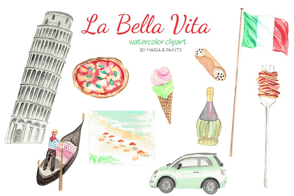 Watercolor Clip Art - Italy