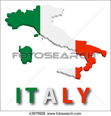 Italy Territory With Flag Texture.-Italy territory with flag texture.-16