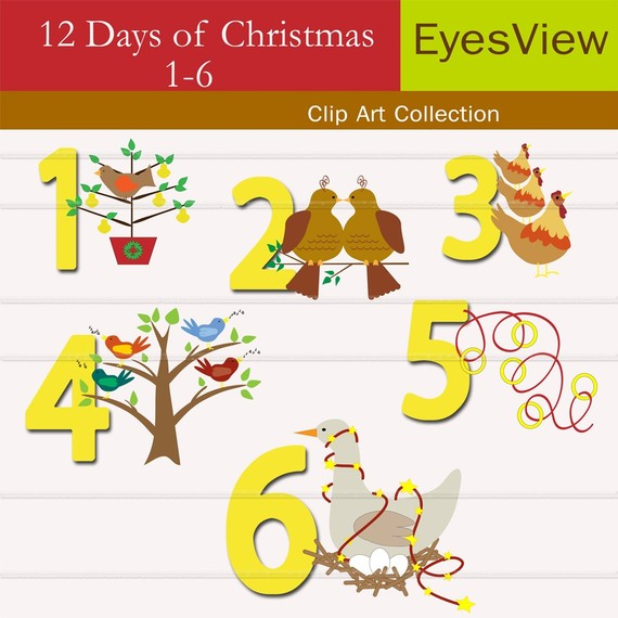 Items similar to Clip Art, 12 - 12 Days Of Christmas Clip Art