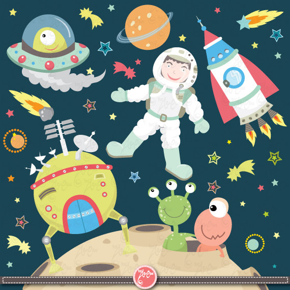 Items similar to Outer space clipart:u0026quot;OUTER SPACEu0026quot;clip art pack instant download Os003 spaceship,planets,rockets,stars for scrapbooking,card making,invites ...