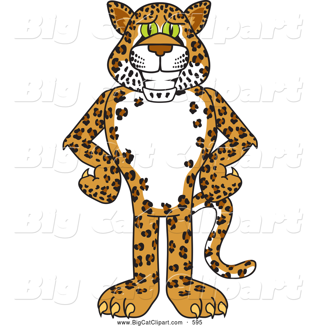 Big Cat Cartoon Vector Clipart of a Friendly Cheetah, Jaguar or Leopard  Character School Mascot
