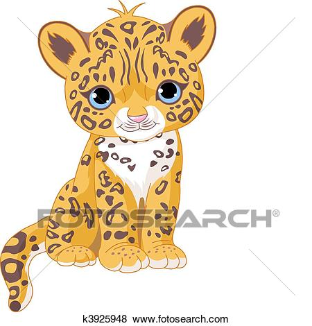 Clip Art - Cute Jaguar Cub. Fotosearch - Search Clipart, Illustration  Posters, Drawings