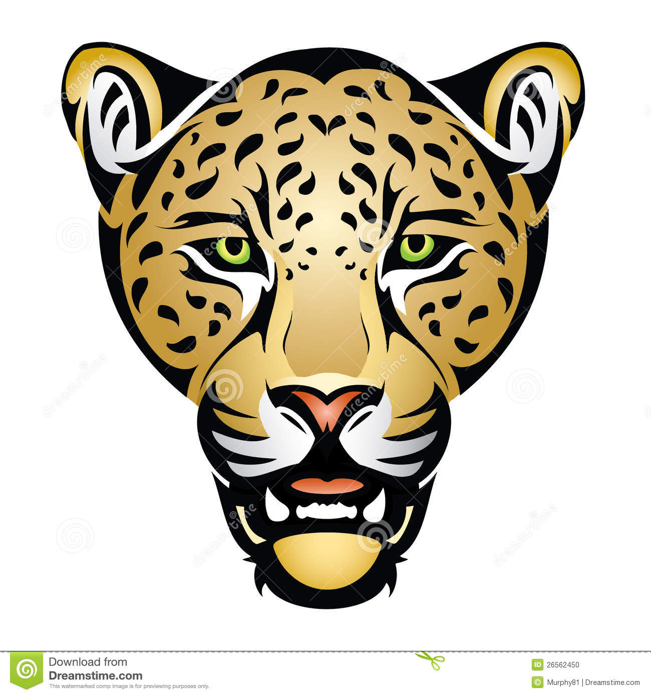 Jaguar head. Vector illustration of jaguar head Stock Photo