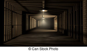 ... Jail Corridor And Cells - A corridor in a prison at night.