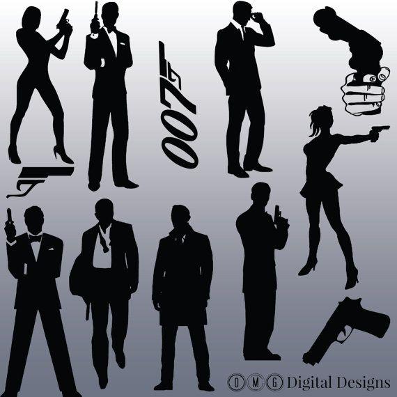 12 James Bond Silhouette Images Digital -12 James Bond Silhouette Images Digital Clipart Images-1