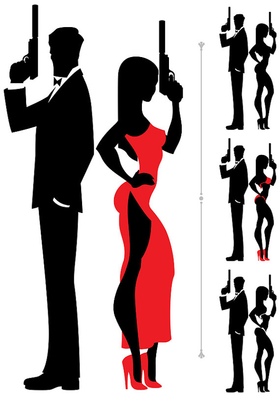 570x807 Spy Couple Vector Cartoon Illust-570x807 Spy Couple Vector Cartoon Illustration. secret agent-3